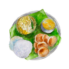 The national indian bengali food on leaf of a banana tree, watercolor illustration isolated on white background.