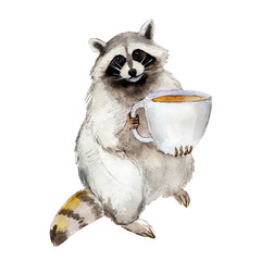 Racoon with coffee mug, animal character isolated on white background watercolor illustration.