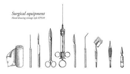 Surgical equipment set hand drawing vintage style