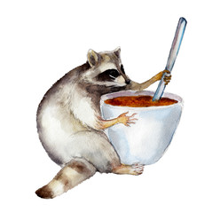Racoon with mug, animal character isolated on white background watercolor illustration.
