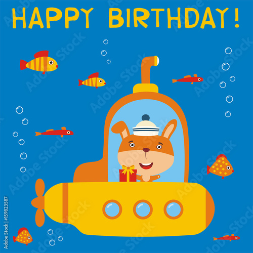 Happy Birthday Funny Bunny Rabbit In Submarine With Gift For Card