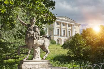 Bridge of the Centaurs and Pavlovsk Palace, 18 century,  in Pavlovsk park, St. Petersburg, Russia
