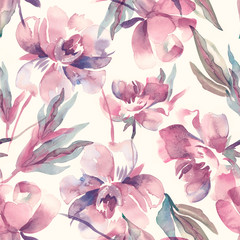 Peonies Seamless Pattern. Watercolor Background.