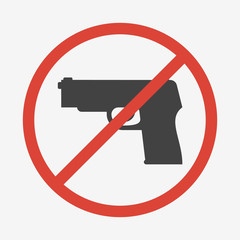 No guns or weapons sign. Vector illustration.