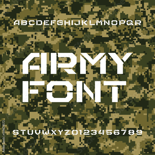 Army alphabet font  Stencil type letters and numbers on a seamless