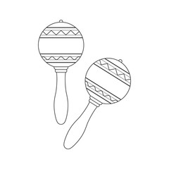 Isolated decorative ornate pair of maracas on white background. Black outline musical instrument.