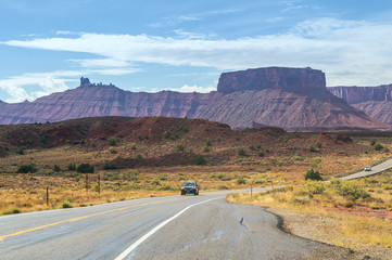 Driving on highway to the Capitol Reef National Park, Utah, USA.