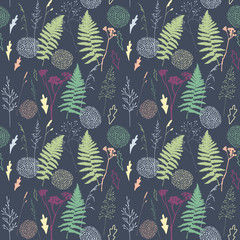 Vector floral seamless pattern with  wild meadow  grasses, fern leaves and stylized flowers outlines .