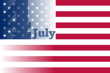 4th of July. Happy Independence Day. Flag USA.  Vector Illustration. For Greeting Card, Banner, Poster.