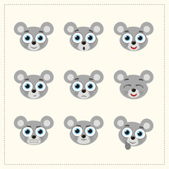 Set funny face mouse different emotion. Collection emoticons of cartoon mouse isolated.