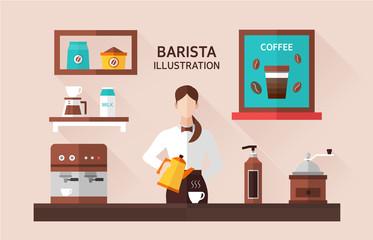 Barista Flat Illustration