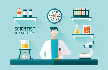 scientist Flat Illustration