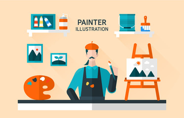 painter Flat Illustration