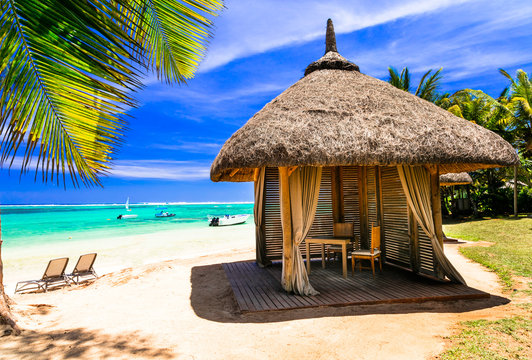 Relaxing tropical holidays. scenery with beach bungalow under palm tree