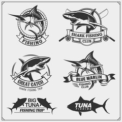 Fishing labels, badges, emblems and design elements. Illustrations of Tuna, Marlin and Shark.