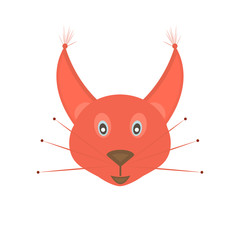 Head squirrel smiling on white background. Isolated graphic vector illustration icon in flat style.