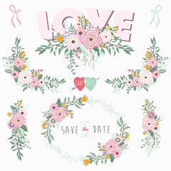 Pink Love Floral Elements