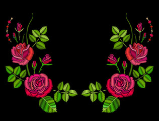 Embroidery red roses symmetrical ornament for decoration of clothes.
