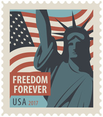 Postage stamp with New York Statue of Liberty, the flag of United States of America and the word freedom forever.