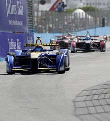 Sebastien Buemi of Renault e.Dams drives his car during the race of the Formula E Championship in Punta del Este
