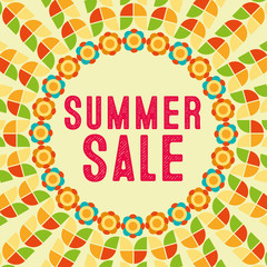 Summer sale retro graphic with colorful flowers