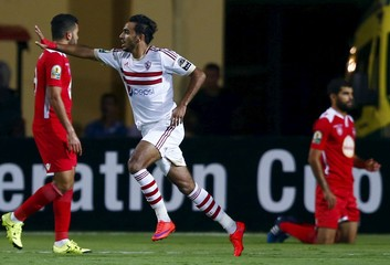 Kahraba of Egypt's Zamalek celebrates after scoring a goal during their Confederation Cup semi-final soccer match against Tunisia's Etoile du Sahel at Petro Sport stadium in Cairo
