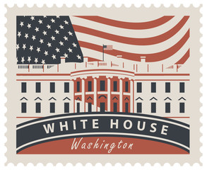 Postage stamp with inscriptions and the image of the US Capitol in Washington DC. Vector illustration White house in Washington on the background of american flag