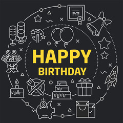 Linear illustration for presentations in the round happy birthday