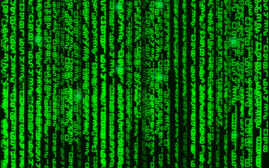 Vector illustration. Vector streaming binary code background. Data and technology, decryption and encryption, computer background numbers 1,0. Coding or Hacker concept.