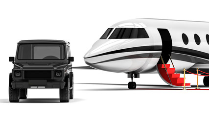 Luxury Life style  / 3D render image representing an luxury SUV with an private jet plane in the background