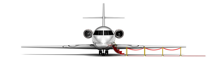 Private Jet Plane  / 3D render image representing an private jet plane waiting with the stairs open