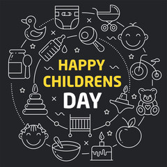 Linear illustration for presentations in the round happy childrens day