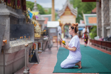 Buddhist Nuns meditation on the temple of thailand