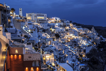 View of the city of Fira at night, Santorini, Greece