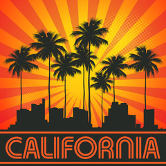 Retro illustration with city skyline and text California
