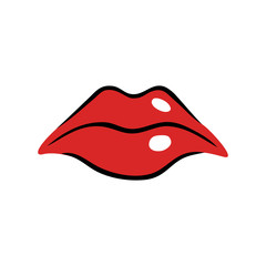 Sad female mouth with red lips