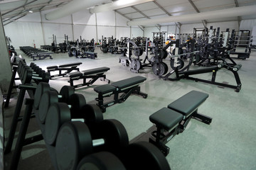 Gymnasium equipment are seen during a guided tour for journalists to the 2016 Rio Olympics Village in Rio de Janeiro