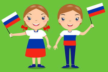 Smiling children, boy and girl, holding a russian flag isolated on green background. Vector cartoon mascot. Holiday illustration to the Day of the country, Independence Day, Flag Day.