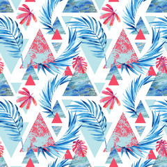 Abstract watercolor triangle and exotic leaves seamless pattern.