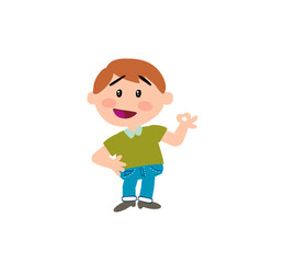 Cartoon character boy in approval attitude; isolated vector illustration.