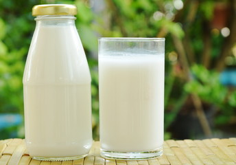 bottle and glass of milk on bamboo mat in garden