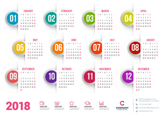 Calendar for 2018 year. Vector design stationery template. Week starts on Sunday. Flat style color vector illustration. Yearly calendar template