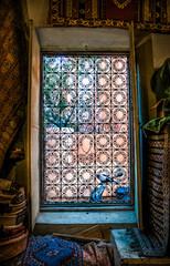 A carpet shop window in Marrakech Morocco