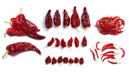 In de dag Hot chili peppers Dried chile peppers: Hot wax, Anaheim,Habanero, Bhut Jolokia, De Arbol. Clipping paths, shadows separated, top view