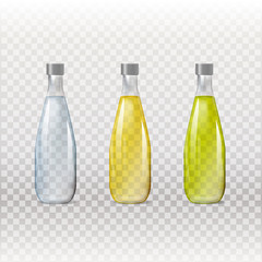 Mockup template for branding and product designs. Isolated realistic glass transparent bottles with unique design. Easy to use for advertising branding and marketing.