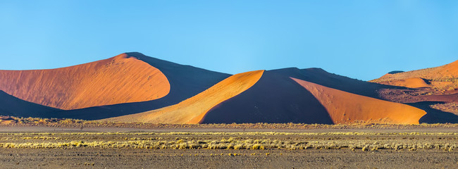 Beautiful dunes on the Sossusvlei desert plato of the Namib Naukluft National Park (panorama). Namibia, South Africa