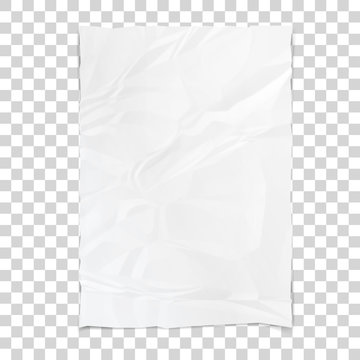 Realistic white sheet of crumpled paper. Wrinkled paper texture. Template background for your text. Vector illustration.