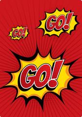 GO! - Comic Speech Bubble, Cartoon