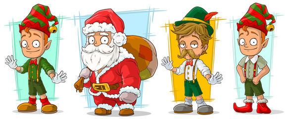 Cartoon santa claus and elf character vector set