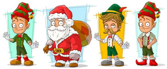 Cartoon santa claus and elf character vector set